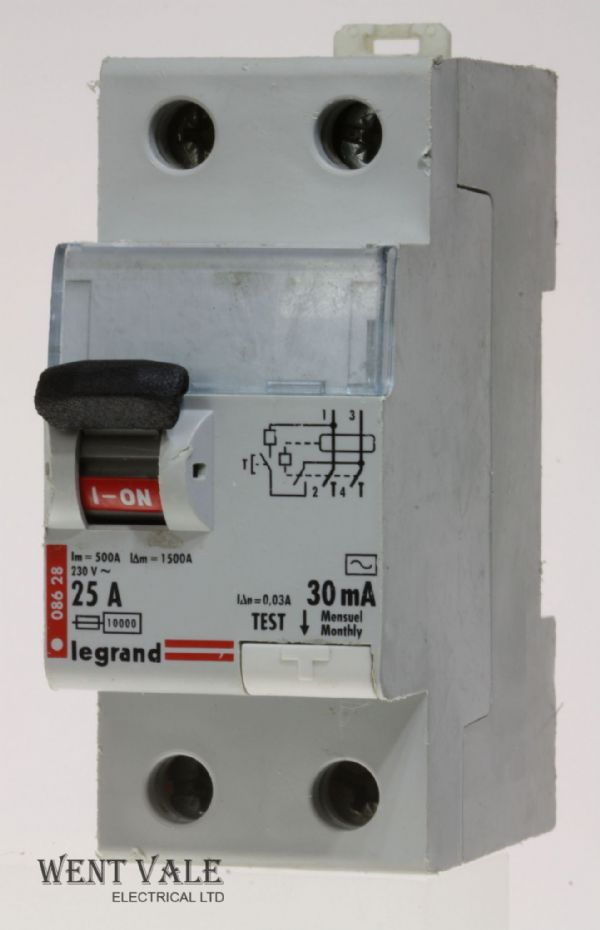Legrand Lexic - 086 28 - 25a 30mA Single Pole + Switched Neutral RCD Used